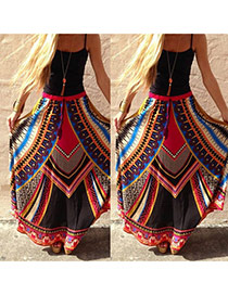 Fashion Multi-color Geometric Shape Pattern Decorated Falbala Long Skirts