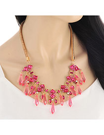 Lovely Pink Arrows Shape Gemstone Decorated Short Chain Necklace