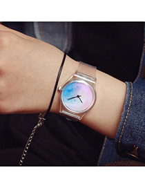 Sweet Multi-color Color Matching Pattern Decorated Transparent Watch