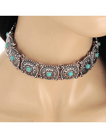 Vintage Silver Color Gemstone Decorated Oval Shape Matching Collar Necklace