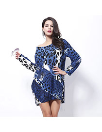 Fashion Sapphire Blue Leopard Pattern Decorated Long Sleeve O Neckline Short Dress