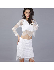 Sexy White Hollow Out Lace Flower Decorated Geometric Hem Suits