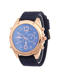 Fashion Blue Big Digit Decorated Pure Color Strap Watch