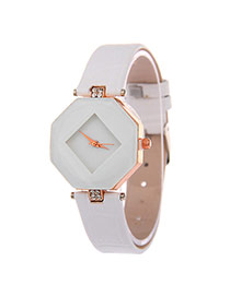 Exquisite White Rhombus Dial Plate Decorated Pure Color Strap Watch