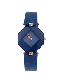 Exquisite Blue Rhombus Dial Plate Decorated Pure Color Strap Watch
