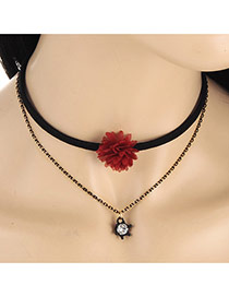Fashion Red Diamond&flower Pendant Decorated Double Layer Necklace