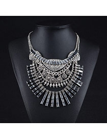 Exaggerated Antique Gold Geometric Shape Decorated Multilayer Necklace