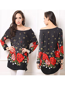 Elegant Red Peony Pattern Decorated Long Sleeve Short Dress