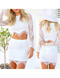 Sexy White Hollow Out Flower Decorated Long Sleeve Perspective Dress Suits