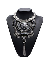Exaggerate Silver Color Hollow Out Design Metal Tassel Collor Necklace