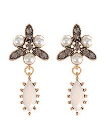 Elegant Gold Color Oval Gemstone Pendant Decorated Flower Shape Earring
