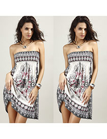 Fashion White Irregular Pattern Decorated Strapless Simple Long Dress