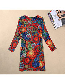 Casual Multi-color Flower Pattern Decorated Long Sleeve Large Size Slim Dress