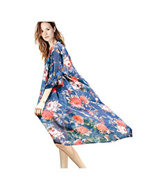 Fashion Sapphire Blue Painting Flower Pattern Decorated Three Quarters Sleeve Long Beach Blouse