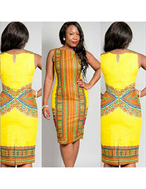 Sexy Yellow Painting Flower Decorated Sleeveless Package Hip Long Dress