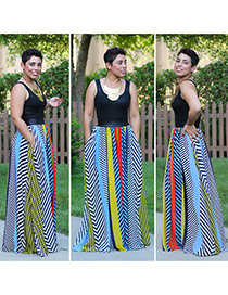 Casual Multi-color Color Matching Decorated Sleeveless Full-skirted Long Dress