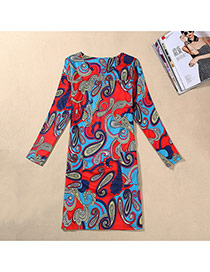 Trendy Multi-color Painting Flower Pattern Decorated Long Sleeve Large Size Slim Dress