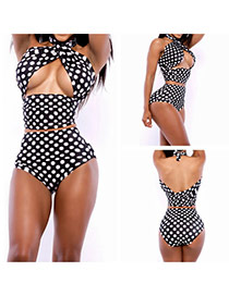 Sexy Black Dot Pattern Decorated Cross Bandage Simple Bikini