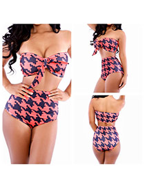 Sexy Orange Geometric Shape Pattern Decorated Strapless Bikini