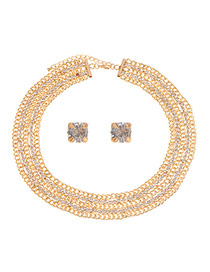 Elegant Gold Color Color Matching Diamond Decorated Hollow Out Jewelry Sets