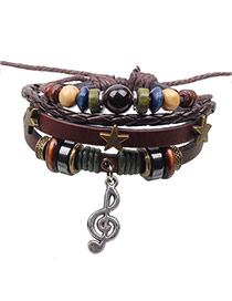 Exaggerated Coffee Music Notation Pendant Decorated Multilayer Bracelet