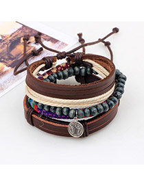 Vintage Coffee Coins Shape Pendant Decorated Multilayer Bracelet