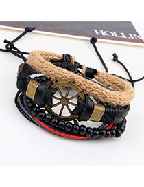 Vintage Black Rudder Shape Decorated Multilayer Simple Bracelet