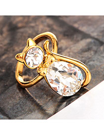 Cute Gold Color Cat Shape Decorated Simple Ring