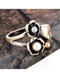 Vintage Silver Color Flower&skull Shape Decorated Simple Ring