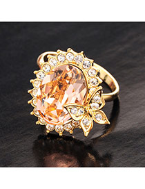 Cute Gold Color Waterdrop Diamond Decorated Simple Ring