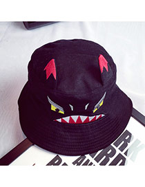 Lovely Black Little Monsters Pattern Decorated Pure Color Simple Hat