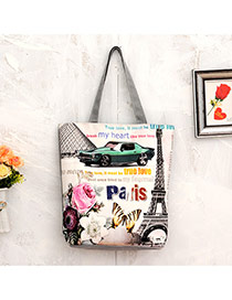 Lovely Multi-color Iron Tower&butterfly Pattern Decorated Simple Trapezoidal Shape Handbag