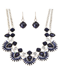 Fashion Dark Blue Water Drop Shape Diamond Decorated Double Layer Jewelry Sets