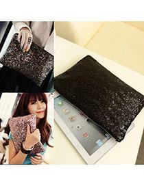 Elegant Black Sequins Decorated Pure Color Messenger Bag