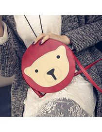 Cute Red Bear Pattern Decorated Round Shape Shoulder Bag