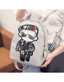 Cute Gray Soldier Pattern Decorated Dots Descendants Of The Sun Backpack