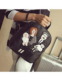 Cute Black Family Pattern Decorated Pure Color Backpack