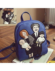 Cute Sapphire Blue Family Pattern Decorated Pure Color Backpack
