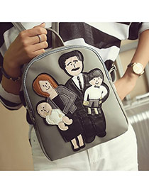 Cute Gray Family Pattern Decorated Pure Color Backpack