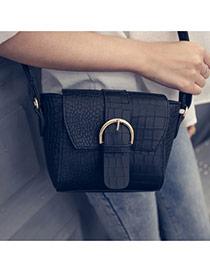 Sweet Black Belt Buckle Shape Decorated Crocodile Grain Shoulder Bag