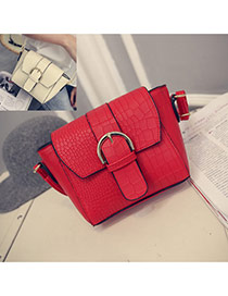 Sweet Red Belt Buckle Shape Decorated Crocodile Grain Shoulder Bag