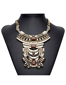 Exaggerated Antique Gold Multilayer Geomtric Shape Decorated Short Chain Necklace