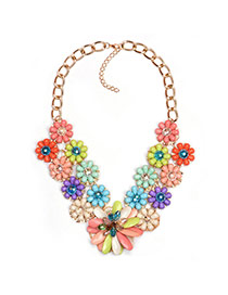 Exaggareted Multi-color Flower Shape Pendant Decorated Short Chain Necklace