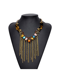 Exaggerated Brown Square Diamond Decorated Long Tassel Necklace