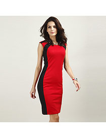 Sexy Red Color Matching Decorated Sleeveless Tight Dress