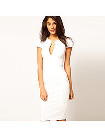 Temperament White Pure Color Decorated Short Sleeve V Neckline Long Dress