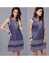 Sexy Purple Flower Pattern Decorated Sleeveless O Neckline Dress