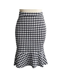 Sexy White+black Plover Pattern Decorated Package Hip Slim Fishtail Skirt
