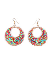 Vintage Multi-color Beads Weaving Decorated Hollow Out Round Shape Earring
