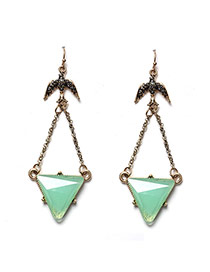 Fashion Green Triangle Shape Gemstone Pendant Decorated Simple Earrings